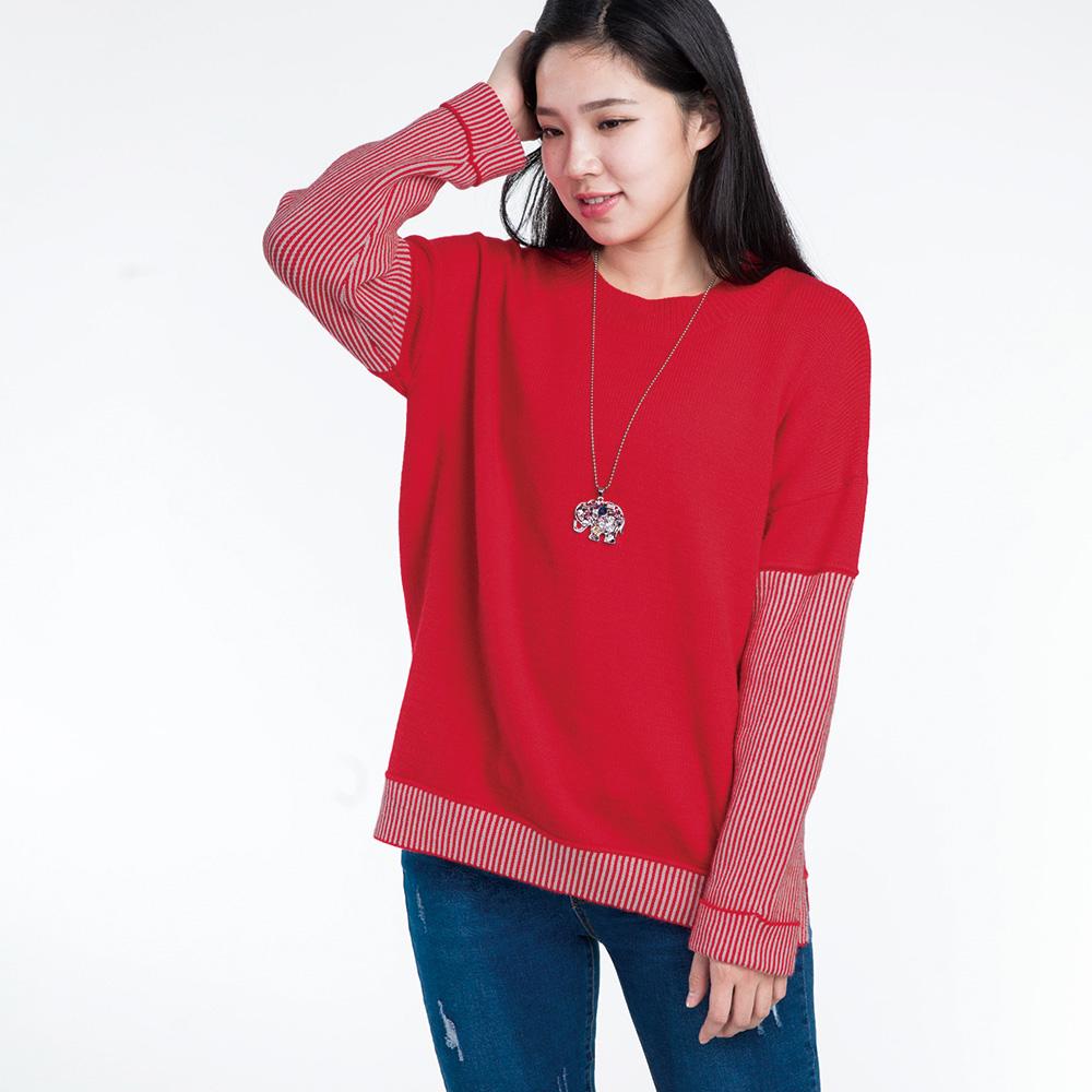 Jumase粗針織 細條落肩袖上衣一大紅 中大尺碼(D1804992)長袖 現貨