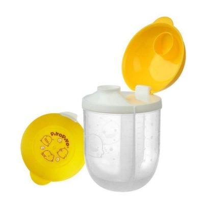 PiYO PiYO黃色小鴨 便攜式旋轉三格奶粉罐