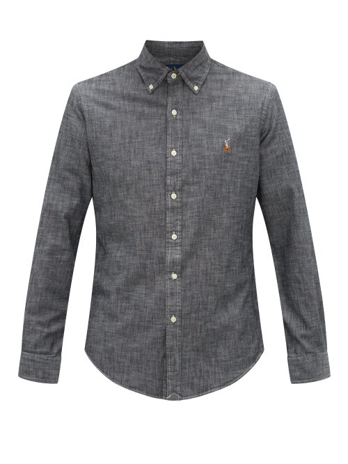 Polo Ralph Lauren - Logo-embroidered Cotton-chambray Shirt - Mens - Grey