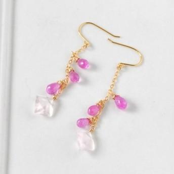 桜色の移ろい ローズクォーツxピンクサファイアピアス
