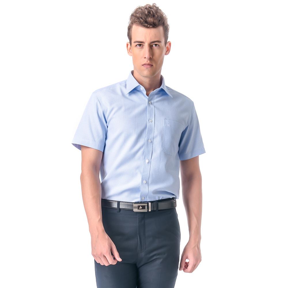 【金安德森】小圖藍色窄版短袖襯衫