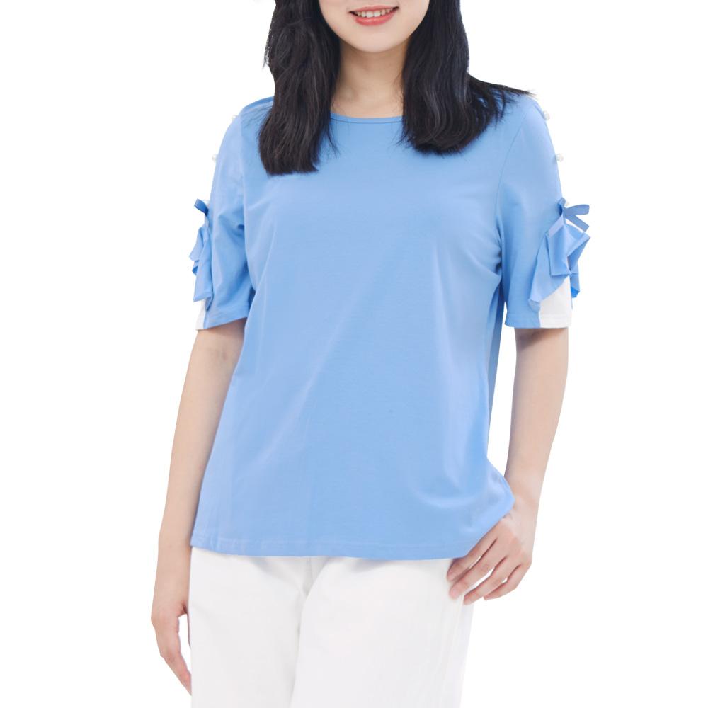 Jumase棉質 釘珠荷葉袖 上衣一蔚藍 中大尺碼 (S18045588)五分袖