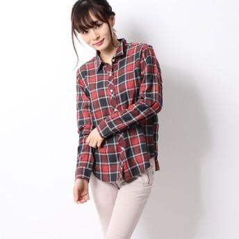 リネーム Rename シンプルチェックシャツ (レッド)