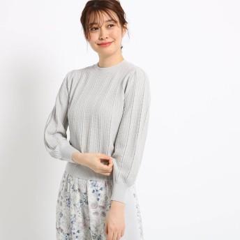 スーナウーナ SunaUna 【洗える】透かし編みアイレットニット (ライトグレー)