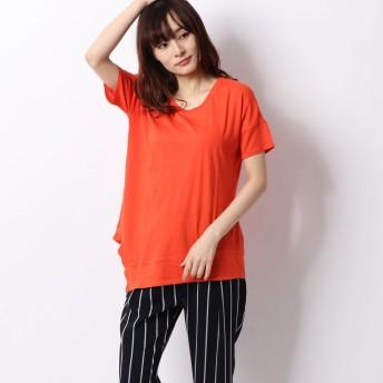 リネーム Rename 裾切り替えしデザインTシャツ (オレンジ)