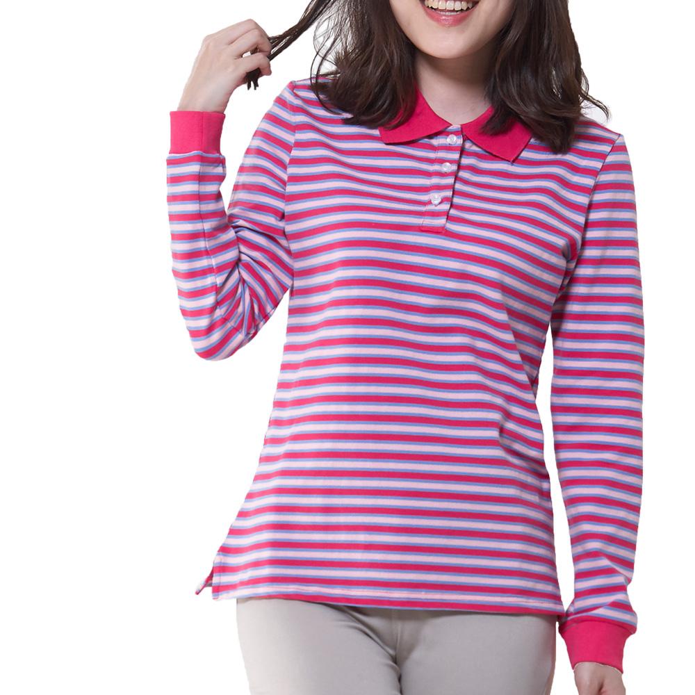 Jumase 純棉網眼 細條紋 POLO衫一俏麗紅 中大尺碼M L XL(170591509)長袖 現貨