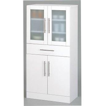 ガラス扉食器棚/キッチン収納 〔幅60cm×高さ120cm〕 ミストガラス使用 『カトレア』 大容量 〔組立〕 〔送料無料〕