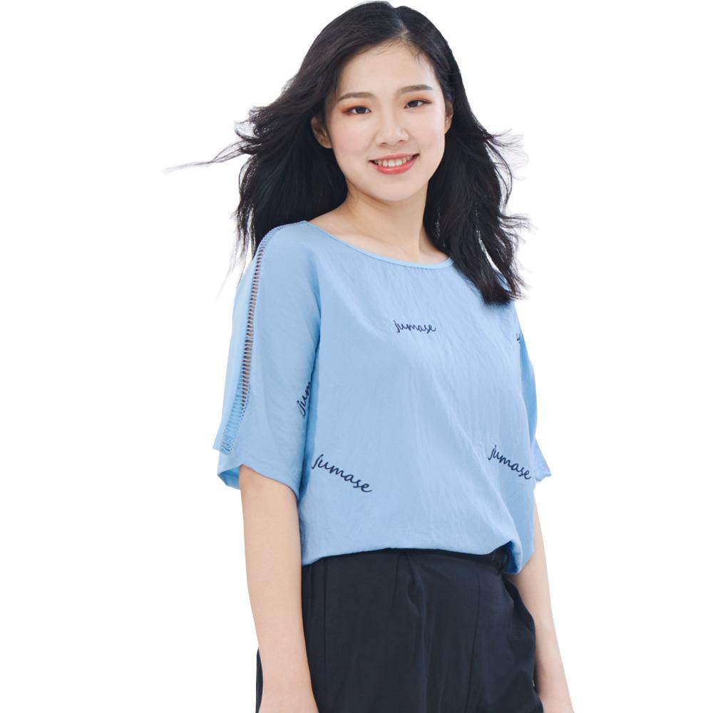 Jumase棉質 品牌繡字 休閒上衣一淺藍 中大尺碼 (D180318391)短袖