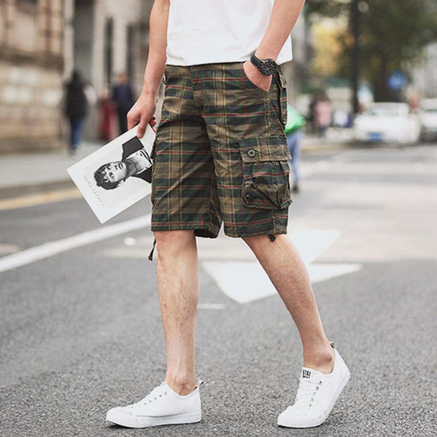懷舊工裝.多口袋格紋短褲