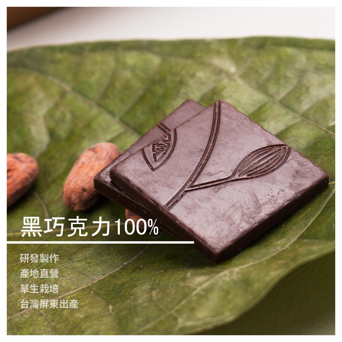 【豆留三合園】黑巧克力100% / 18片
