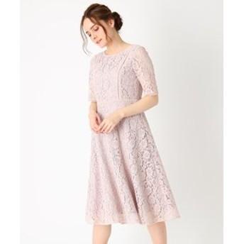 【Couture brooch:ワンピース】【ママスーツ/入学式 スーツ/卒業式 スーツ】総フラワーレースフレアワンピース