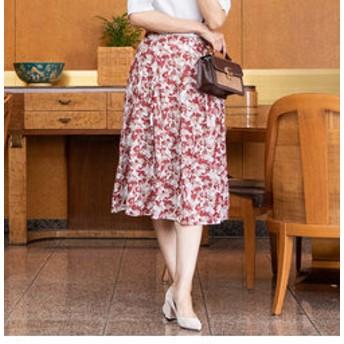 【J Lounge:スカート】≪洗濯機で洗える≫3Dオパールフラワープリントタックフレアスカート