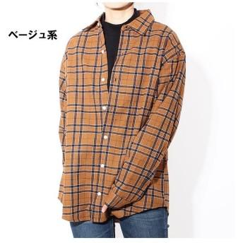 ネクストウォール 「849 75」レディース ネルシャツ 長袖シャツ カジュアル BIGシャツ ビッグシャツ ビッグサイズ ゆったり レディース ベージュ L 【NEXT WALL】