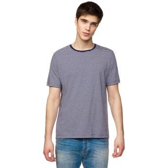 ベネトン(メンズ) ベーシックボーダー半袖Tシャツ・カットソー(ネイビー)