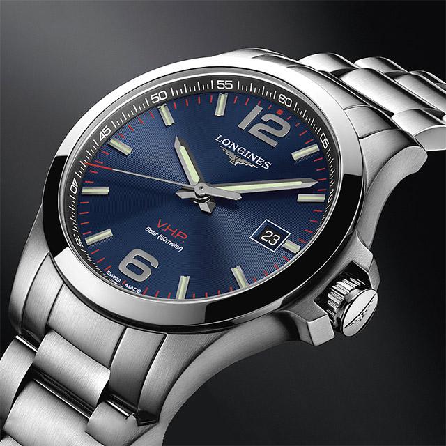 LONGINES 浪琴 征服者系列V.H.P.萬年曆手錶-藍x銀/43mm L37264966