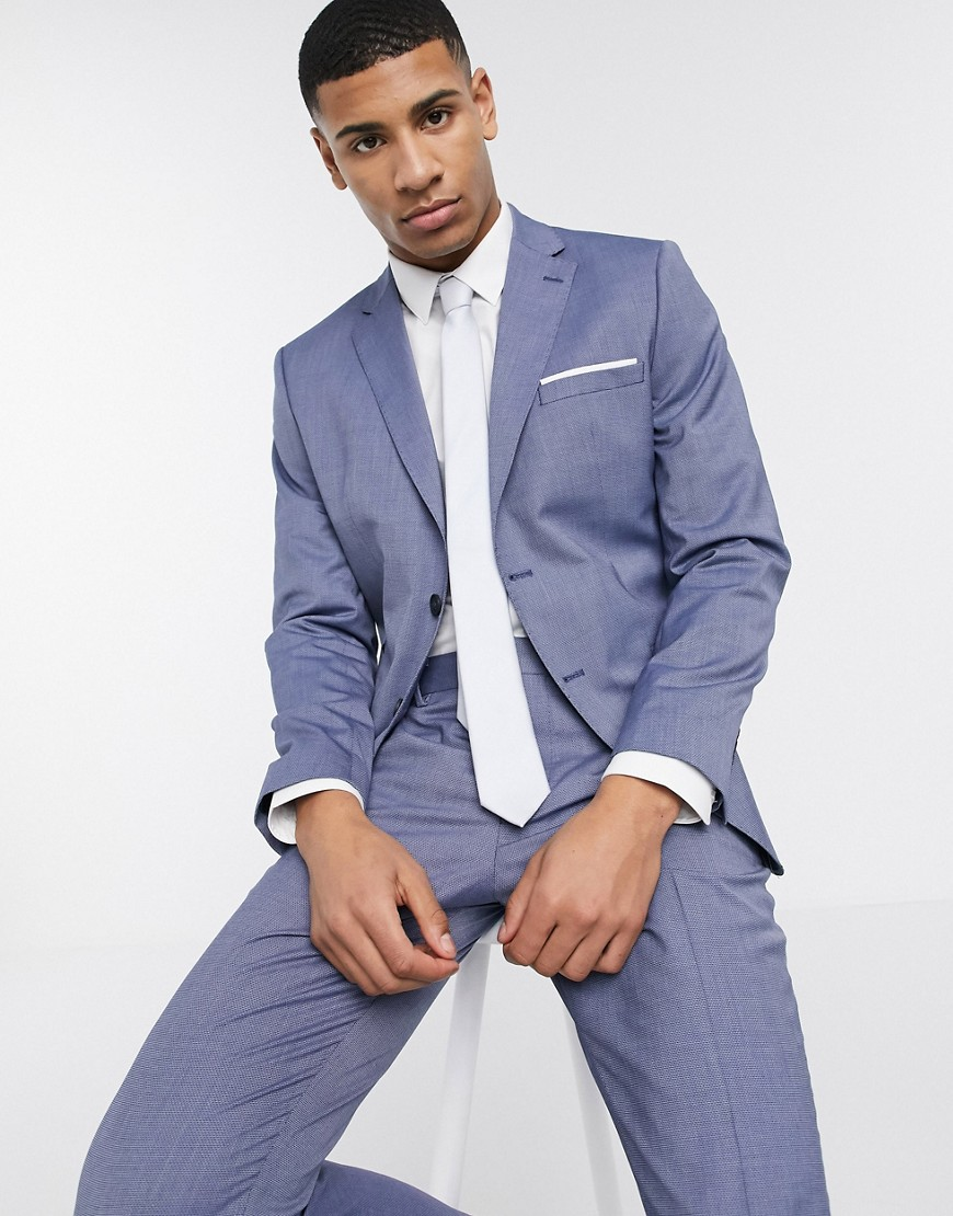 Selected Homme skinny fit stretch suit jacket in blue-Grey