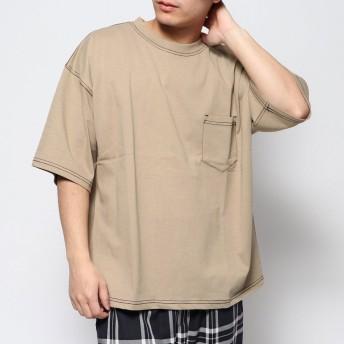 スタイルブロック STYLEBLOCK ヘビーウエイトビッグシルエットTシャツ (配色ステッチベージュ×ブラック)