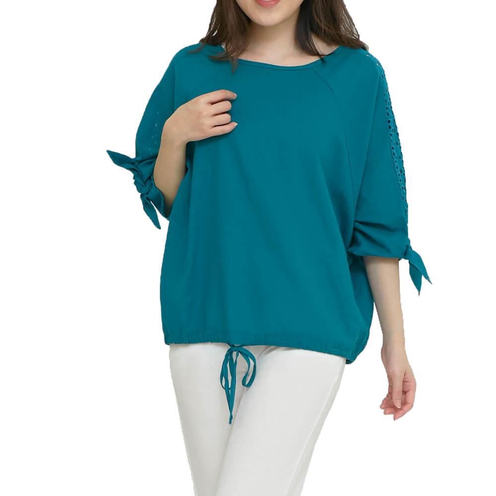 麻紗 鏤空刺繡 抽繩上衣一土耳其藍   中大尺碼(1803929) 五分蝴蝶袖 大F  現貨