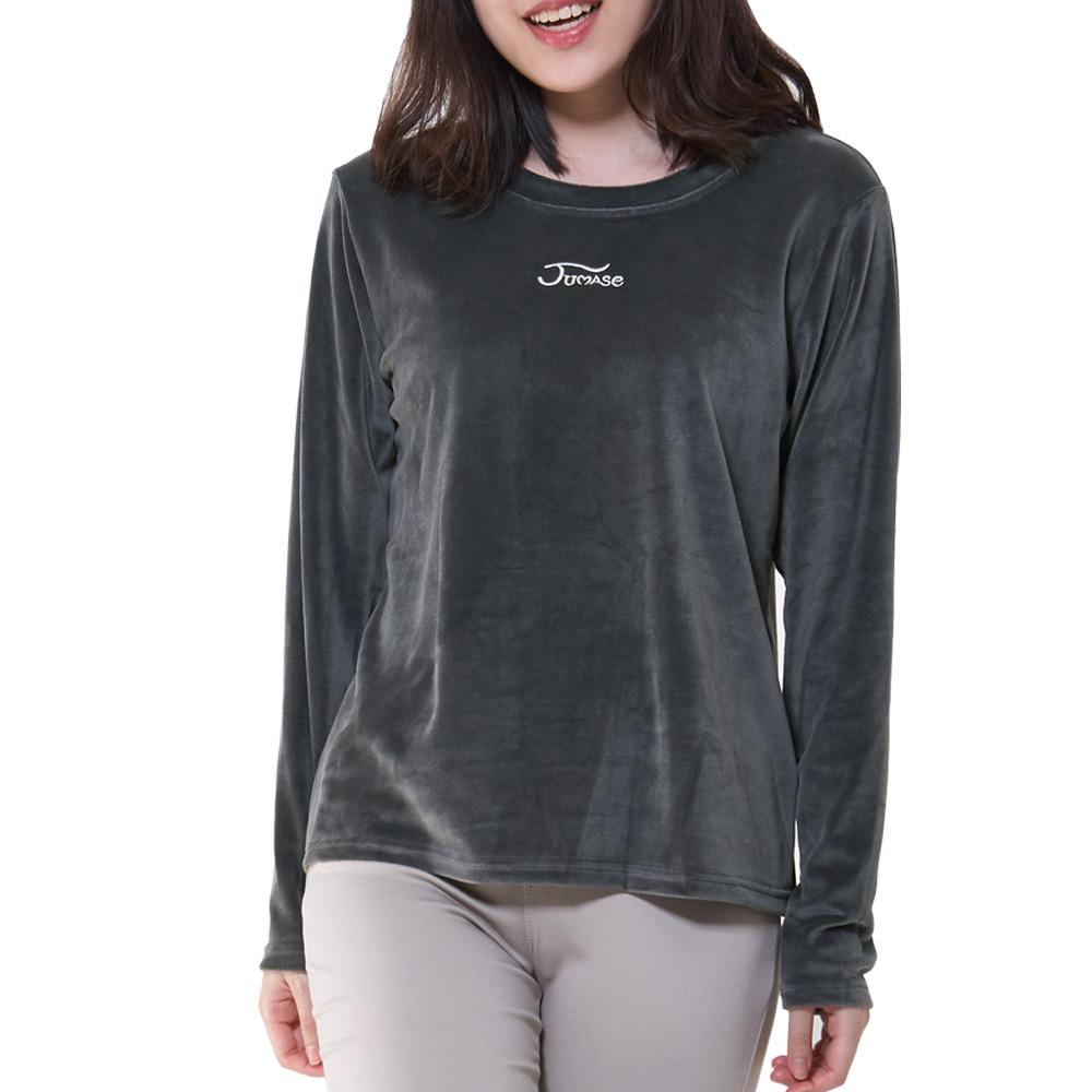 Jumase 亞光絲絨 內搭 上衣一高雅灰 中大尺碼M L XL(170211091)長袖 現貨