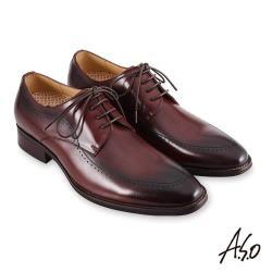 A.S.O 職場通勤 零壓挺力刷色工藝德比紳士鞋-咖啡