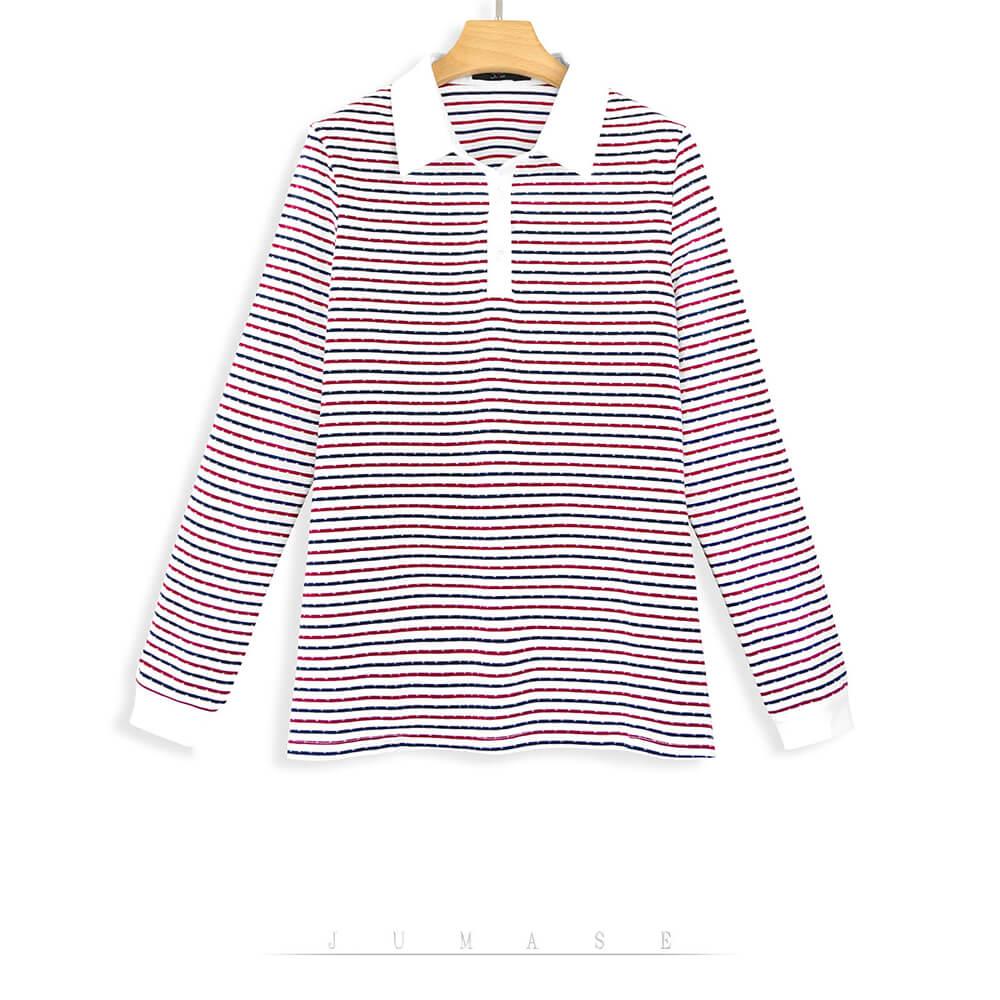 Jumase精梳棉 襯衫領 細條紋配色 POLO衫170591508一優雅紅