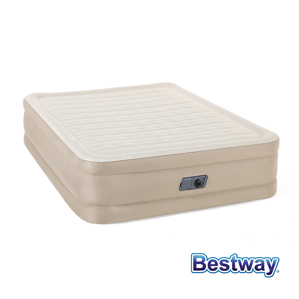 Bestway 專利FORTECH自動快充植絨雙人加大充氣床-米白 69051E