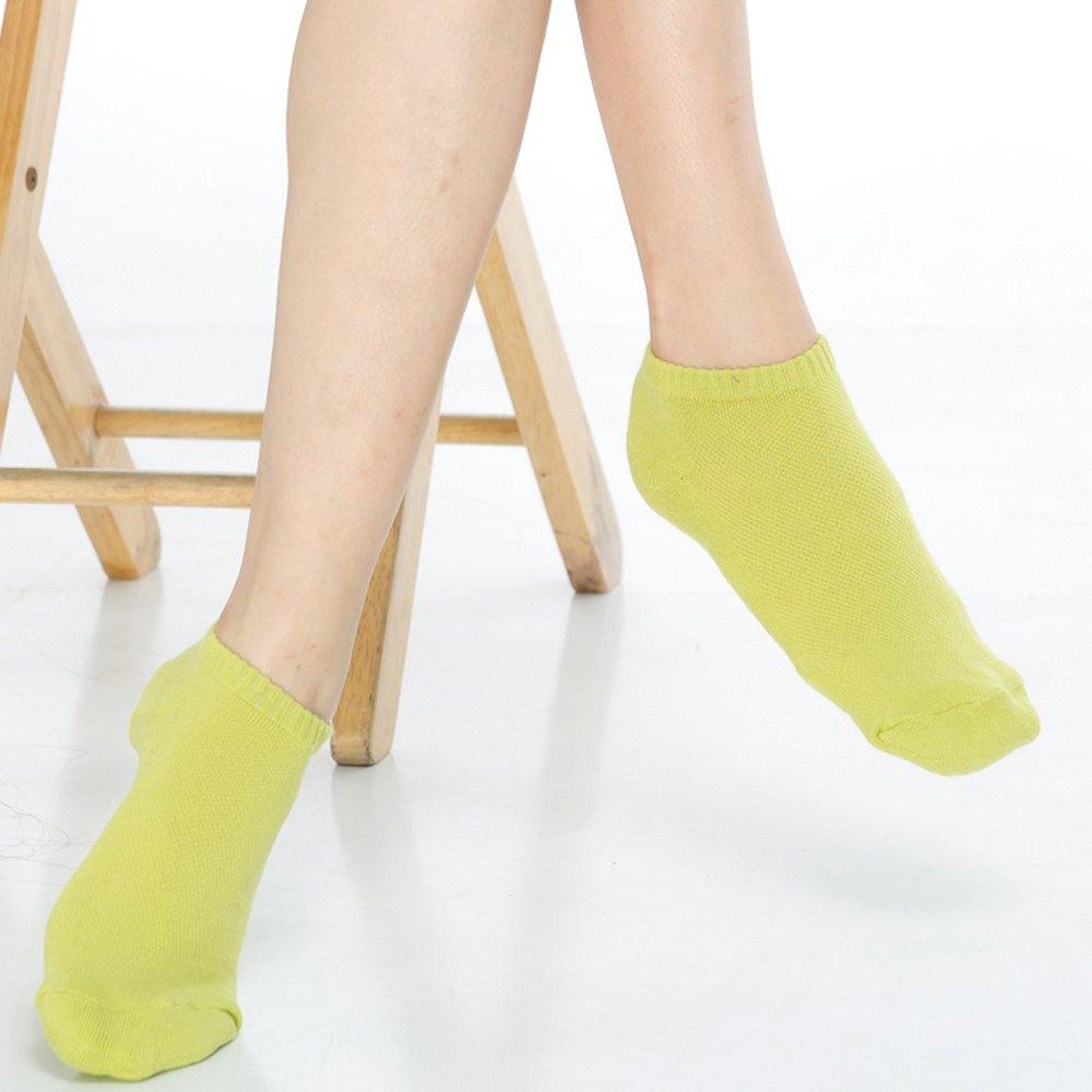 【KEROPPA】可諾帕細針毛巾底氣墊超短襪x4雙(男女適用)C91005芥末綠