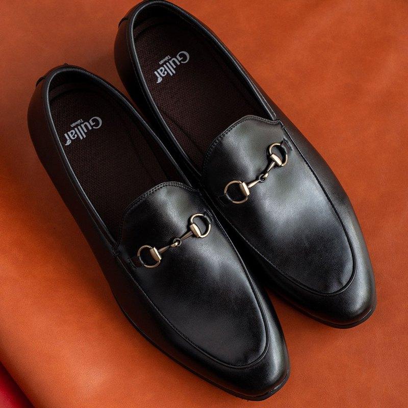 Gullar扣飾風雅樂福-素食皮鞋(黑色)