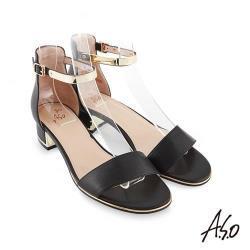 A.S.O 時尚流行 健步美型簡約真皮腳踝帶低跟涼鞋-黑