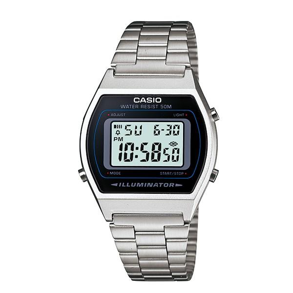CASIO 卡西歐 酒桶型數位大錶面不鏽鋼電子錶 黑面 B-640WD-1A