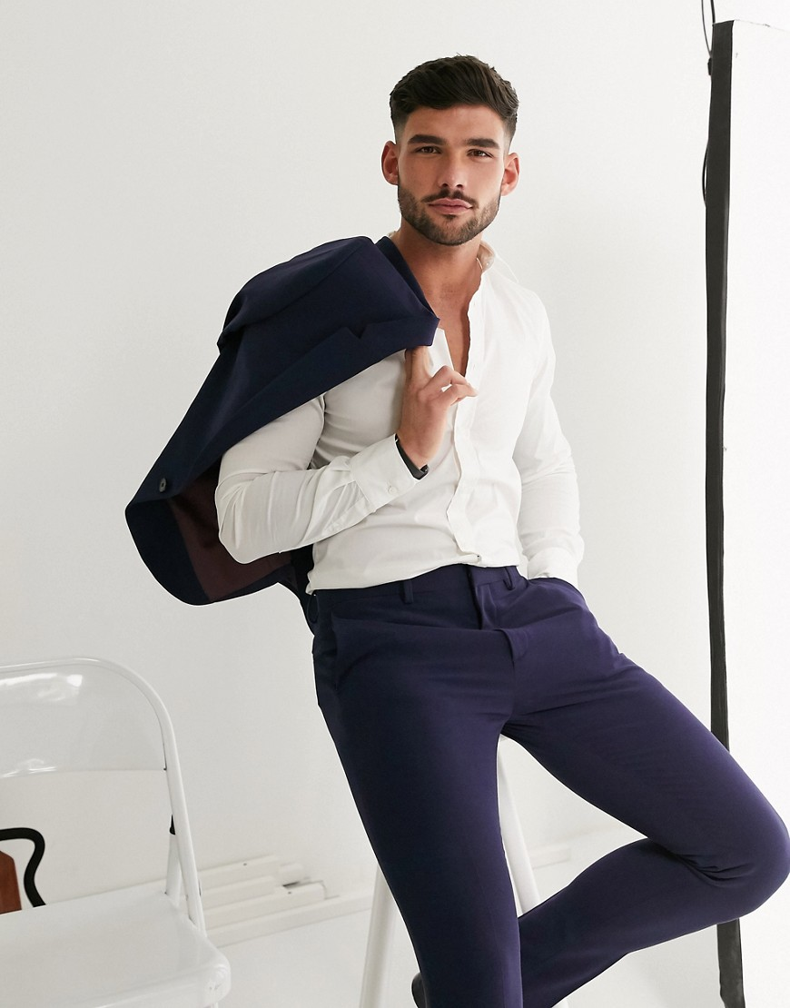 ASOS DESIGN super skinny suit trousers in four way stretch in navy