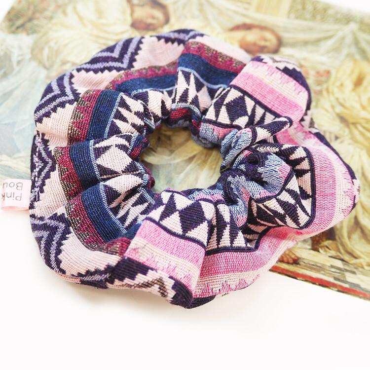 粉紅堂 髮飾民族風厚棉布 大腸圈髮束 粉紅色 / 藍色