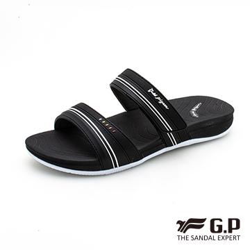 【G.P 女款輕量極柔軟舒適雙帶拖鞋】G0559W-黑色(SIZE:36-39 共二色)