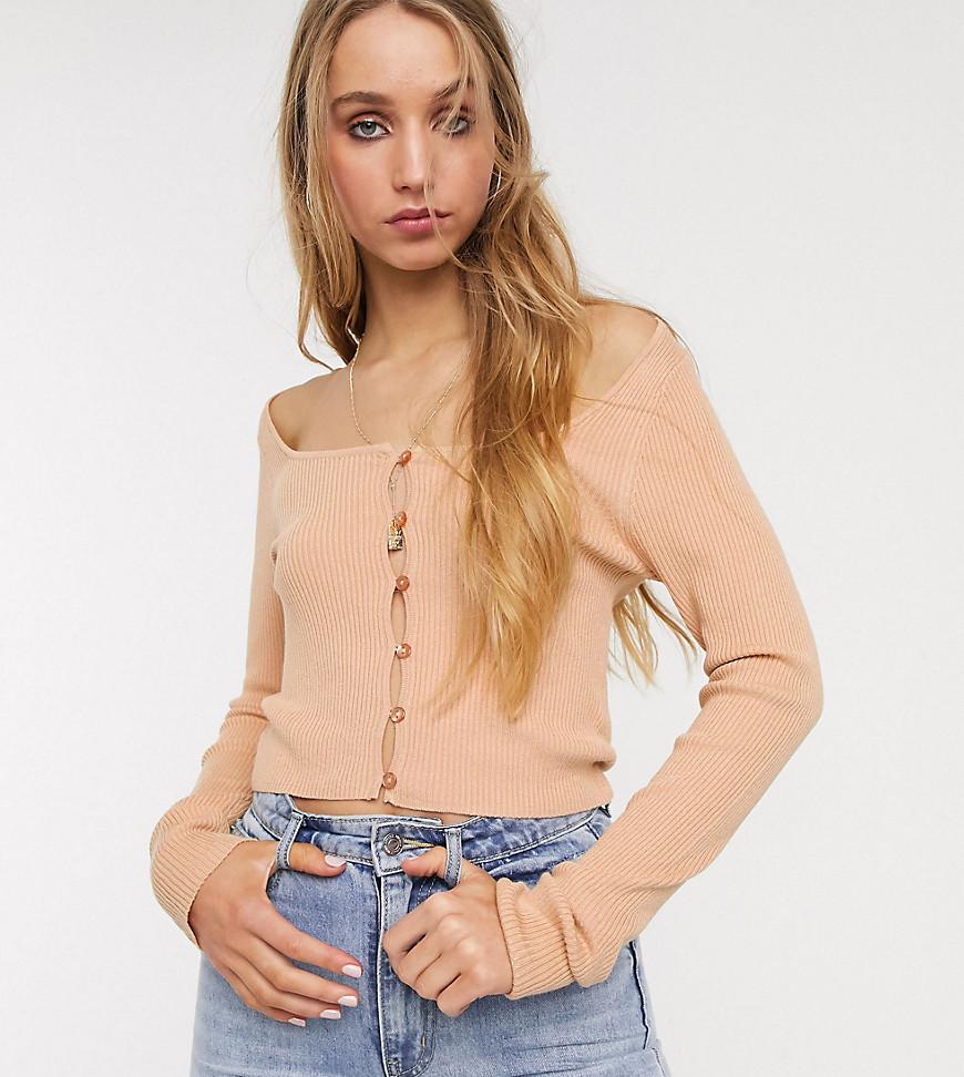 ASOS DESIGN Tall scoop neck fine knit cardigan-Brown