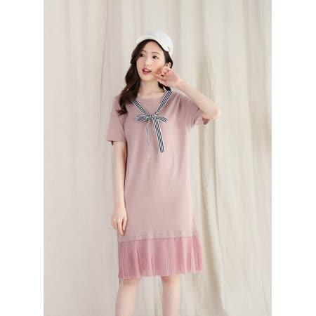 Pink*學院風針織長洋裝 M3101CD