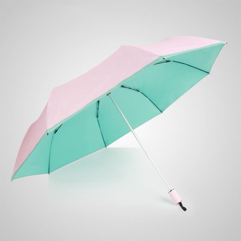 抗UV-夏威夷風情-超輕巧-按摩手把-遮陽防曬傘-三折傘-綠色