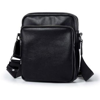 上質 革 ミニ ショルダーバッグ メンズ 縦型 斜め掛け カバン 防水 5つの収納ポケット iPad Mini収納可能 ビジネス 通勤 通学 男性用 ブラック