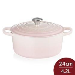 Le Creuset 琺瑯鑄鐵典藏圓鍋 24cm 4.2L 貝殼粉 法國製