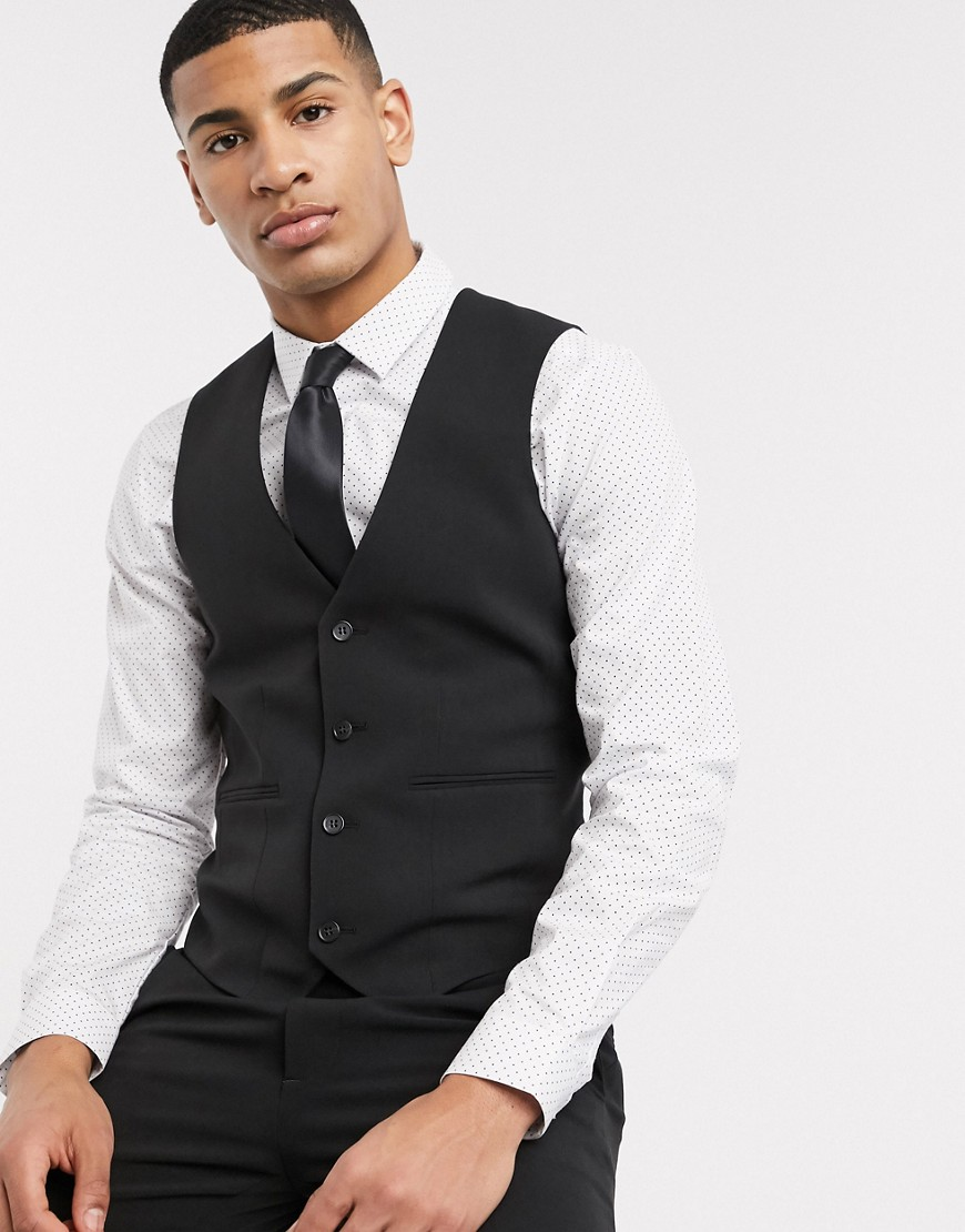 ASOS DESIGN super skinny suit waistcoat in four way stretch in black