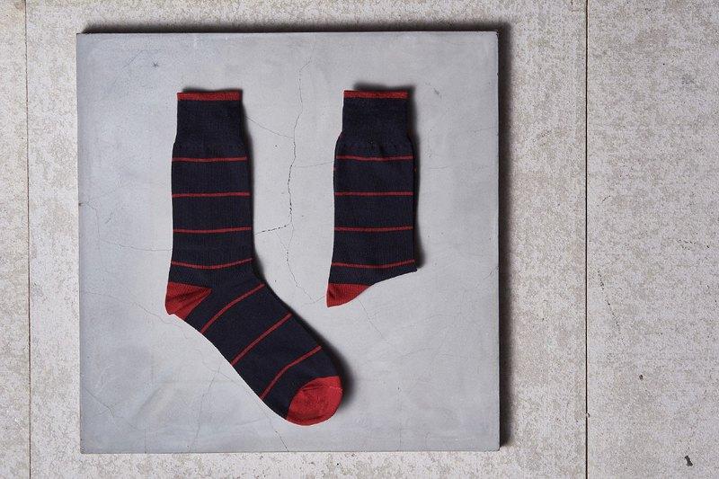 雙色水手條紋紳士襪 深藍紅