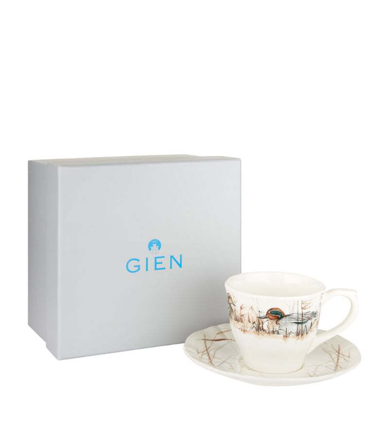 Gien Sologne Duck Teacups And Saucers (Set Of 2)