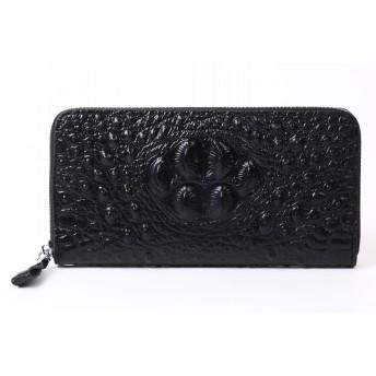 クロコダイル 型押し 長財布 (黒色)