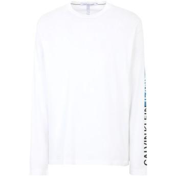 《セール開催中》CALVIN KLEIN JEANS メンズ T シャツ ホワイト S オーガニックコットン 100% STRIPE INSTITUTIONAL T-SHIRT