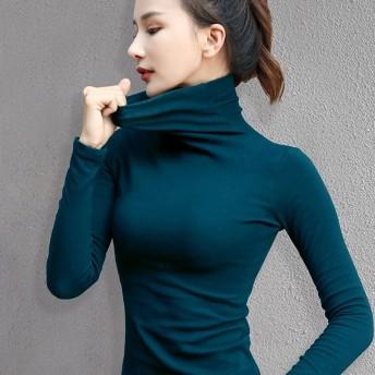2020新作のタートルネックのレディースの長袖の純色春秋韓版のレディース服の保温補修着やせtシャツの女性のトップスのおしゃれ