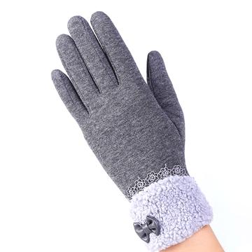 【幸福揚邑】防風加絨觸控騎車開車保暖棉手套-可愛絨毛-灰色