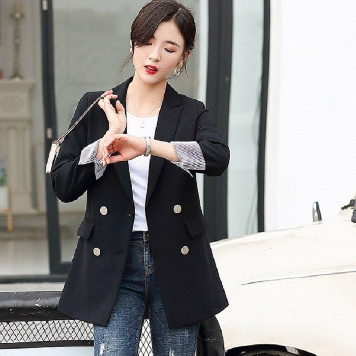 韓款配色反摺袖中長款寬鬆上班休閒長袖西裝外套[9S231-PF]灰姑娘