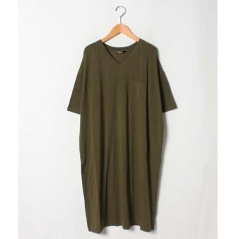 【アハッピーマリリン】とろみ素材 胸ポケット 裾スリット 半袖 カットソーワンピース