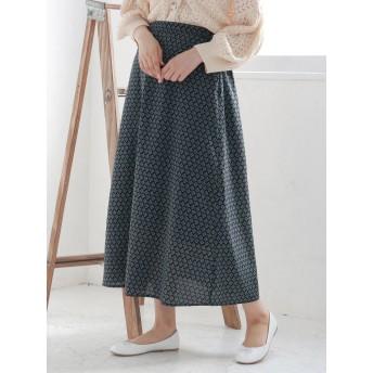 【6,000円(税込)以上のお買物で全国送料無料。】小紋柄フレアスカート