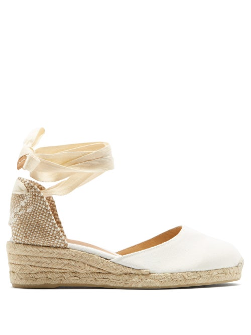 Castañer - Carina 60 Satin And Jute Espadrille Wedges - Womens - White