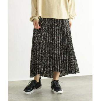 OZOC/オゾック [洗える]ラップ風アシメプリーツスカート クロ×ホワイトレオパード柄(219) 38(M)